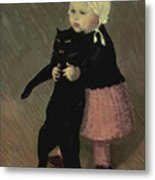 A Small Girl With A Cat Metal Print