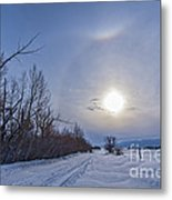 A Solar Halo Around The Sun At The End Metal Print