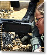 A Soldier Fires An M240b Medium Machine Metal Print by Stocktrek Images