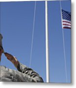 A Soldier Salutes The American Flag Metal Print