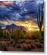 A Sonoran Desert Sunrise - Square Metal Print