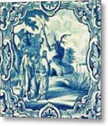 A South-german Faience Stove Tile Second Half 18th Century, By Adam Asar, No 18a Metal Print