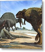 A Spinosaurus Blocks The Path Metal Print