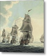 A Squadron Of The Royal Navy Running Down The Channel And An East Indiaman Preparing To Sail Metal Print