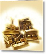 A Stack Of Gold Bullion  Metal Print
