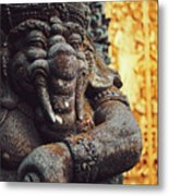 A Statue Of A Intricately Designed Holy Hindu Elephant Ganesha In A Sacred Temple In Bali, Indonesia Metal Print