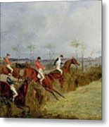 A Steeplechase - Taking A Hedge And Ditch Henry Thomas Alken Metal Print