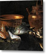 A Still Life Of Fish With Copper Pans And A Cat  Metal Print