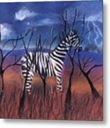 A Stormy Night For A Zebra  Metal Print