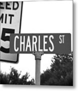 Ch - A Street Sign Named Charles Speed Limit 35 Metal Print