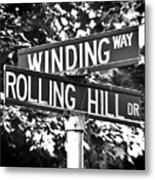Wi - A Street Sign Named Winding Way And Rolling Hill Metal Print