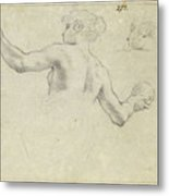A Study For A Female Allegorical Figure And A Separate Study For Her Head Metal Print