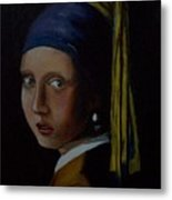 A Study Of The Girl With Pearl Earring By Vermeer Metal Print