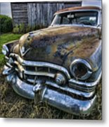 A Stylized Wide Angle Look At An Old Rusty Cadillac By A Cornfield Metal Print