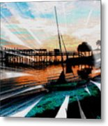A Sunflower-sunset Paradise - Abstract Metal Print