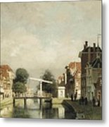A Sunlit Canal With A Draw Metal Print