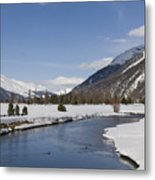 A Sunny Winter Scene In The Swiss Alps Metal Print