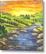 A Sunset In Wine Country Metal Print