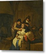 A Tavern Interior With Two Peasants Making Advances On A Maid With Figures Making Music Beyond Metal Print