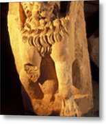 A Temple Winged Lion In The Petra Metal Print