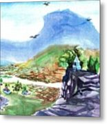 A Temple With A Mountain And Fields In The Background Metal Print