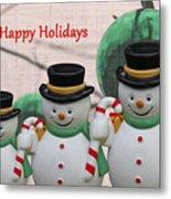 A Three Snowman Holiday Metal Print
