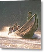 A Tigertail Boat On The Ping River Metal Print