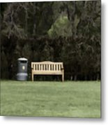 A Trash Can And Wooden Benches In A Small Grassy Area Metal Print