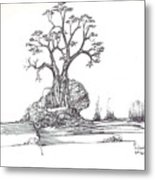 A Tree A Rock And Some Grass Metal Print