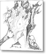A Tree Human Forms And Some Rocks Metal Print