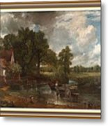 A Tribute To John Constable Catus 1 No. 1 -the Hay Wain L B With Alt. Decorative Ornate Frame. Metal Print
