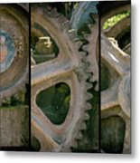 A Triptych Of Old Gears Metal Print