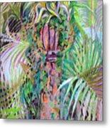A Tropical Basket On A Post Metal Print