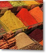 A Typical Set Of Shops In Istanbul Spice Market Metal Print
