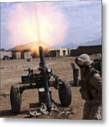 A U.s. Marine Corps Gunner Fires Metal Print