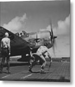 A Us Navy Fighter Pilot Gets The Take Off Flag From The Deck Crew Of An Aircraft Carrier Metal Print