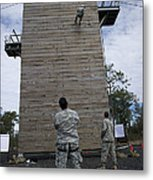 A U.s. Soldier Rappels Down A 40-foot Metal Print