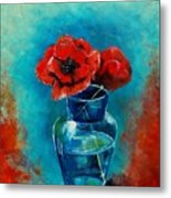 A Vase With Poppies  Metal Print