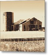 A Very Old Barn And Silo Metal Print
