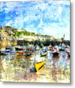 Porthleven - A View Across The Harbour Metal Print