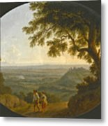 A View Across The Alban Hills With A Hilltop On The Right And The Sea In The Far Distance Metal Print