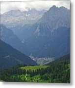 a view from 2200 meter altitude in the dolomite mountains of Italy Metal Print