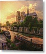 A View From Bridge Pont De L Archeveche, Archbishop Bridge, Infront Of Notre Dame De Paris Cathedr Metal Print
