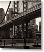 A View From The Bridge - Manhattan Bridge New York Metal Print