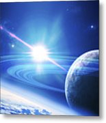 A View Of A Planet As It Looms In Close Metal Print