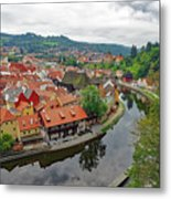A View Of Cesky Krumlov And The Vltava River In The Czech Republic Metal Print