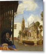 A View Of Delft With A Musical Instrument Seller's Stall Metal Print
