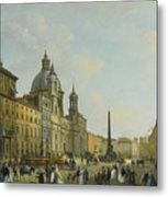 A View Of Piazza Navona With Elegantly Metal Print