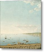 A View Of The Bay Of Naples Looking Southwest From The Pizzofalcone Toward Capo Di Posilippo Metal Print