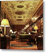 A View Of The Chatsworth House Library, England Metal Print